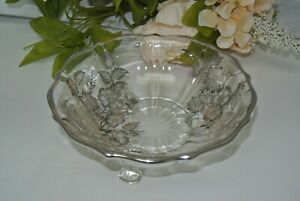 Vtge Silver City Crystal Queen Rose with Sterling Silver Overlay 3 Footed Bowl