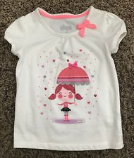 CIRCO GIRLS VALENTINES DAY RAIN HEARTS GLITTER SILVER PINK BOW TEE SHIRT TOP 5T