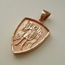 GOLD Saint ST. MICHAEL ARCHANGEL CROSS SHIELD  MEDAL SILVER PENDANT NECKLACE