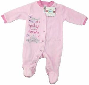 Disney Pretty as a Princess Pink Fleece Baby Grow Sleepsuits - Brand New