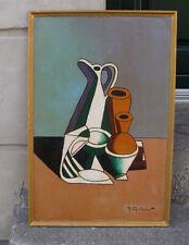 Fine Mid Century Danish Cubist Art Deco Still-life.1950s. Signed.