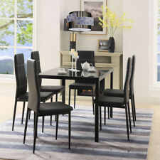 5Pcs/7Pcs Glass Dining Set Table & Chair For Home Kitchen Dining Room US