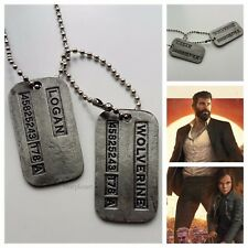 X-Men Wolverine Logan Brushed Steel Double Dog Tag Pendant Necklace UK Seller