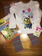 Minions Sz 5 5T Birthday Shirt Leggings Set Nwt + Justice Stickers