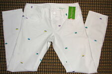 158.00  NWT Lilly Pulitzer Skinny Crop Jeans 00 Embroidered Fish Resort White
