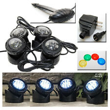 4-LED Super Bright Outdoor Underwater Pond Fountain Spot Light Kits Plus Sensor