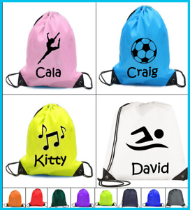 PERSONALISED Drawstring bag PE dance music football boys girls swimming swim gym