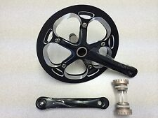 New Unbranded Alloy Bike Crankset Chainwheel Single Speed 53T 165mm Black/Silver