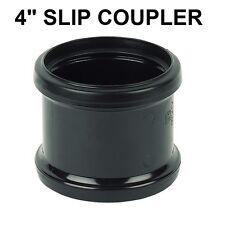 """4"""" 110mm Soil Pipe Coupling Double Socket Straight Slip Coupler Black"""