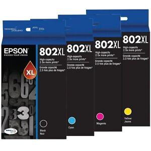 4x Epson Genuine 802XL 802 XLBK/C/M/Y High Yield Ink WF-4720/WF-4740/WF-4745
