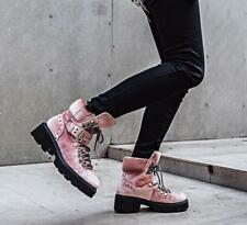 Pink Women Ridding Lace up Ankle Booties Block Casual Thicken Winter Shoes Chic