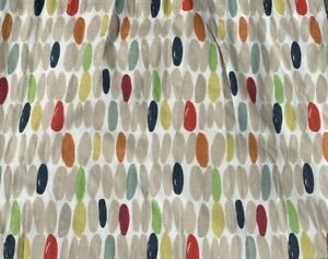 Pair of LAURA ASHLEY WALLACE Retro Multi Curtains Pencil PleatLined, Linen Mix
