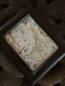 """Cool Old Map In Latin AMERICA Latin Watercolors Wood Framed Glass 14"""""""