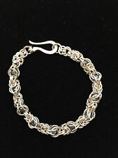 Chainmaille Sterling Silver Byzantine Bracelet with Captured Blue Beads. 7 in.