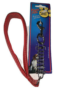 Heavy Duty Short Lead Spring Dog Small Red Padded Handle