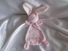 Doudou lapin rose, dos imprimé, Grain de blé