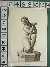 C1804 antica stampa ~ Venus ~ Statua acquattata osservazione