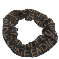 FENDI Logos Scrunchie Hair Accessories Black Brown Nylon Authentic #AC655 O