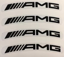 "Mercedes AMG Wheel Rim Stickers Black on Clear Laminated 117 x 15mm x 19"" Rim"