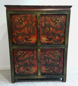 Antique Nepali / Tibetan Hand Painted 4 Panel Cabinet Chest 19th Century Chinese