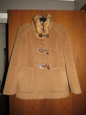 Cinzia Rocca $1,095 Camel Angora & Wool Fur Collar Toggle Front Jacket Coat 4 6