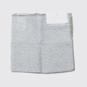 Brunello Cucinelli Pocket Square Light Gray Green Linen Cotton