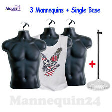 3 Pcs Black Mannequins Male Torsos + 1 Stand ; Men Clothing Dress Forms
