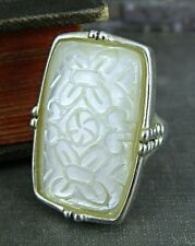 Designer Carved Mother of Pearl Ring in Sterling Silver