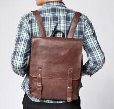 2016 Mens Vintage Leather Backpack Rucksack Travel Book Satchel Bag