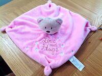 Baby Hugs Love and Hugs Teddy Bear Pink Comforter Blanket Blankie Rattle
