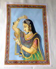 "Vintage 1950's India Hand Painted Silk 14"" Mughal Ranee / Rani Beautiful Queen"