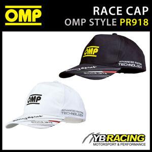 PR918 OMP RACING SPIRIT CAP LIGHTWEIGHT COTTON BLACK or WHITE ADULT & CHILD