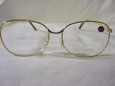 BRAND NEW Pair Large GOLD Metal Reading Glasses +1.00 READERS Full Frame