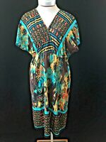 Soho Apparel dress Size 12 cap sleeve brown yellow blue geometric stretch knit