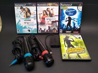 PS2 SINGSTAR  Bundle w/2 mics, USB Converter, 4 Games, not tested, selling as is