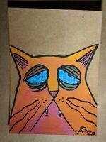 Original OOAK Painting ACEO ATC 2.5 x 3.5 Signed  Orange Lonely Sad Cat Glitter