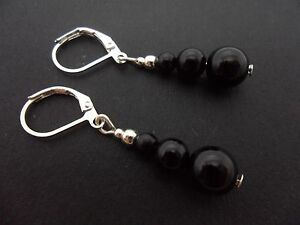 A PAIR OF PRETTY BLACK ONYX BEAD  SILVER PLATED LEVERBACK HOOK  EARRINGS. NEW.