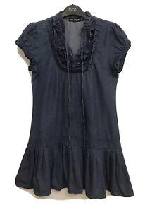 Otto Mode Y2K Denim Dress Pleat Bottom Frill Neck Size 10