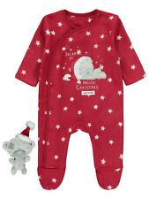 Baby Me To You Christmas Sleepsuit Babygrow + Tatty Teddy Soft Toy First Size