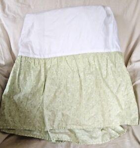 Carter's Basics Green and Cream Floral Flowers Baby Nursery Crib Skirt Cover