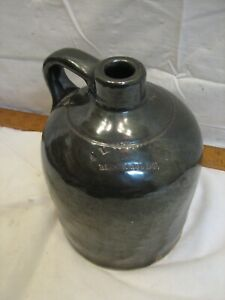 Early Hyssong Bloomsburg PA Stoneware Jug Brown Slip Crock Spout Stone Ware