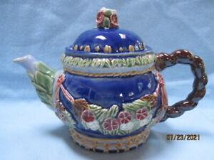 Vintage Blue Wangiang Majolica Teapot CBK Nouveau Floral w/ Rope Handle