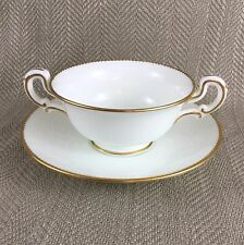 Wedgwood Bullion Soup Bowl Cup Twin Handled White Gold Trim Thomas Goode Set