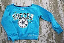 JUSTICE Blue Long Sleeve SOCCER Ball GOAL Graphic Sweatshirt Top Aqua Size 8