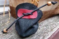 Petite bourse cuir retourné noir rangement petit objet bijoux emballage cadeau