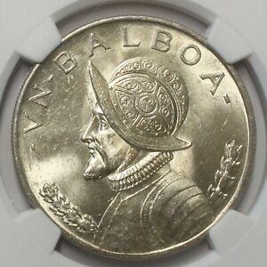 1947 Panama Silver Balboa MS 63 NGC 856I