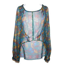 ANNA SUI Metallic Sheer Butterfly Print Long Sleeve Top size 2
