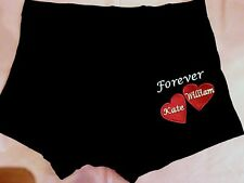Personalised mens Boxers Shorts ANNIVERARY WEDDING 2 HEARTS with Names Gift Leg