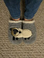 Lands End Women's Size 9 Gray Off White Sheep Slip-On Slippers Faux Fur Insole