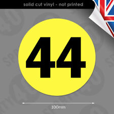 2 x 100mm Roundels Race Number Vinyl Decals Stickers Round Number 6103-0119